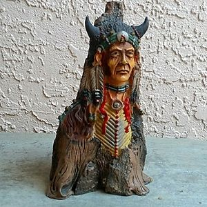 INDIAN CHIEF ROOT UP BUST HEAD IN CERAMIC ROOT TREE 🌳